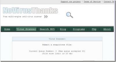 Analiza online tus archivos con 23 antivirus a la vez con No virus Thanks
