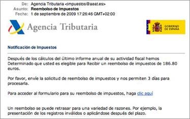 Phishing simulando correos de la Agencia Tributaria